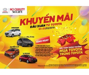 Toyota Việt nam triển khai chương trình khuyến mãi đầu xuân từ Toyota cho khách hàng mua xe Vios,Innova và Corolla Altis, Wigo G MT trong tháng 3/2019